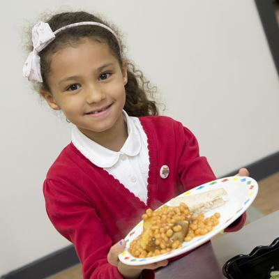 Child with school meal